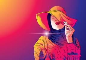 Mujer Hijab Traveler Vector