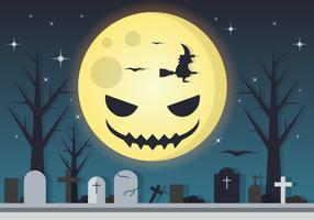 Spooky Moon Halloween Vector