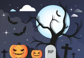 Free Halloween Graveyard Vector Background