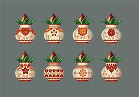 Set Vector illustration of Kalash with Coconut and Mango Leaf