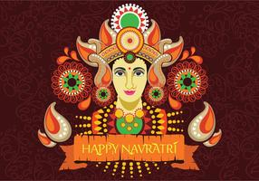 Maa Durga Face Design on Retro Background for Hindu Festival Shubh Navratri