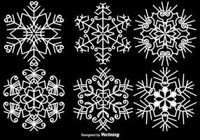Elegant White Snowflakes Vector Set