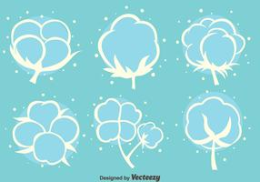 Cotton FLowers White Icons Vector