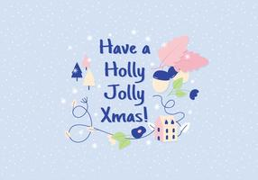 Holly Jolly Christmas Illustration Greeting