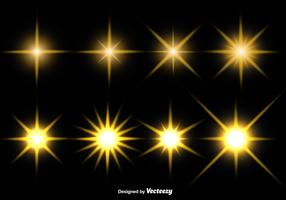 Set Of Glowing Stars Vector Icons