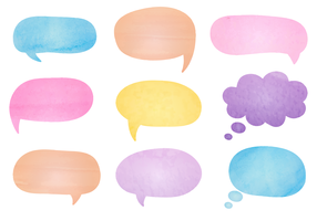 Free Watercolor Speech Bubbles Vector