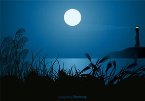 Free Seascape At Night Vector Illustration