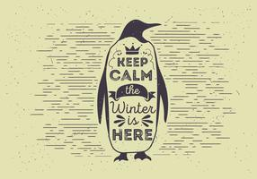 Free Vector Typography Penguin Illutration