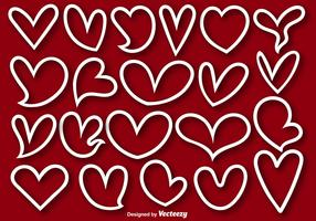 Collection Of 21 Heart Lined Shapes - Vector