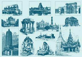 Blue India Illustrations