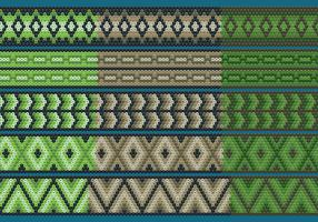 Green And Brown Huichol Ribbons