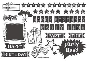 Cute Hand Drawn Style Party Elements
