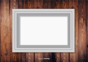 Silver Frame On Wood Wall Background