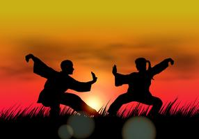 Couple Doing Wushu At Sunset