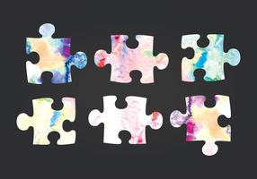 Vector Watercolor Puzzle Pieces