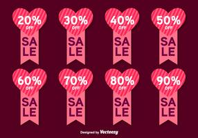 Valentines Day Sale Vector Labels