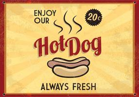 Retro Glowing Hot Dog Sign Vector