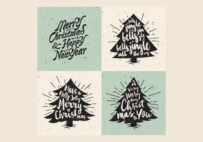 Retro Christmas Tree Lettering Vector