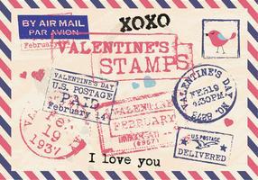 Valentine's Stamps Vintage Postcard Vector