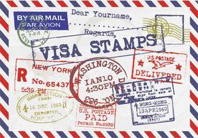 Visa Stamps Vintage Postcard Vector