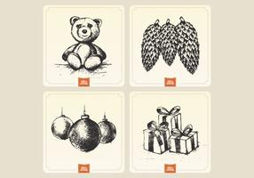 Vintage Holiday Card Collection Vector