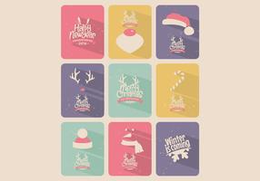 Candy-Colored Christmas Card Collection Vector