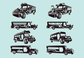 Set Vector Illustration of jeepney