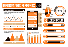 Orange Infographic Elements Vector