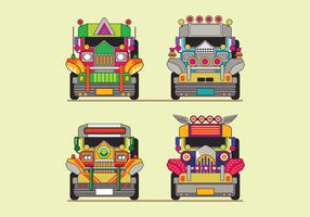 Philippine Jeep Icon or Jeepney Front View