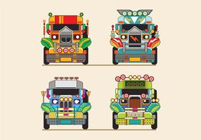 Philippine Jeep vector Illustration or Jeepney Front View