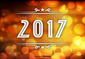 2017 Happy New Year Orange Bokeh Vector Background