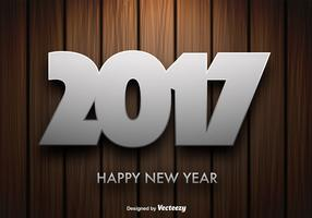 Vector Wooden Background With 2017 New Year Message