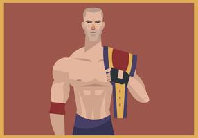 Wrestler With Wrestling Champion Belt Vector
