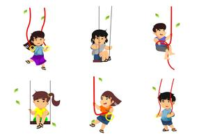 Free Kids Playing Rope Swings Vector Illustration