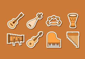 Free Music Insrument Stickers Vector