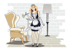 Vector Illustration of Woman in Classic Maid Dress Costume