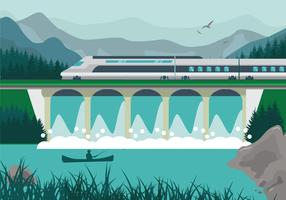High speed rail TGV city train lanscape ilustration