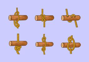 Rope ladder knot wood vector stock