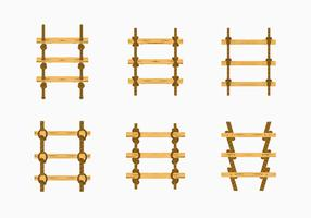 Rope ladder knot wood stairs vector stock