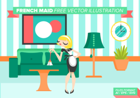 French Maid Free Vector Illustration