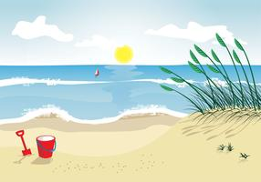 Sea oats beach vector illustration