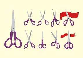 Scissors cutting label flat vector