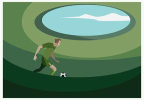 A Football Player in the Football Ground Vector