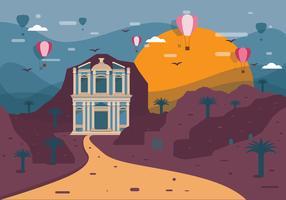 Petra Landscape Blue Vector
