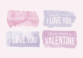 Vector Valentine's Day Watercolor Messages