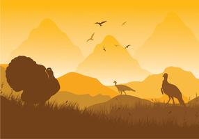 Wild Turkey Scene Vector