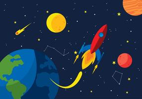 Starship Space Cartoon Free Vector