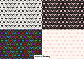 Vector Seamless Heart Patterns