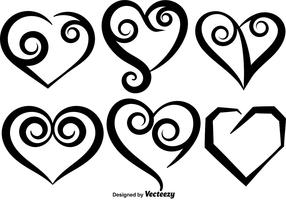 Collection Of Vector Hand Drawn Hearts