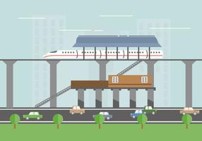 TGV station train vector flat illustration